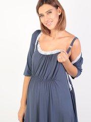 Euromama/Евромама. Комплект для беременных и кормящих с коротким рукавом и кружевом вискоза, джинс вид 4