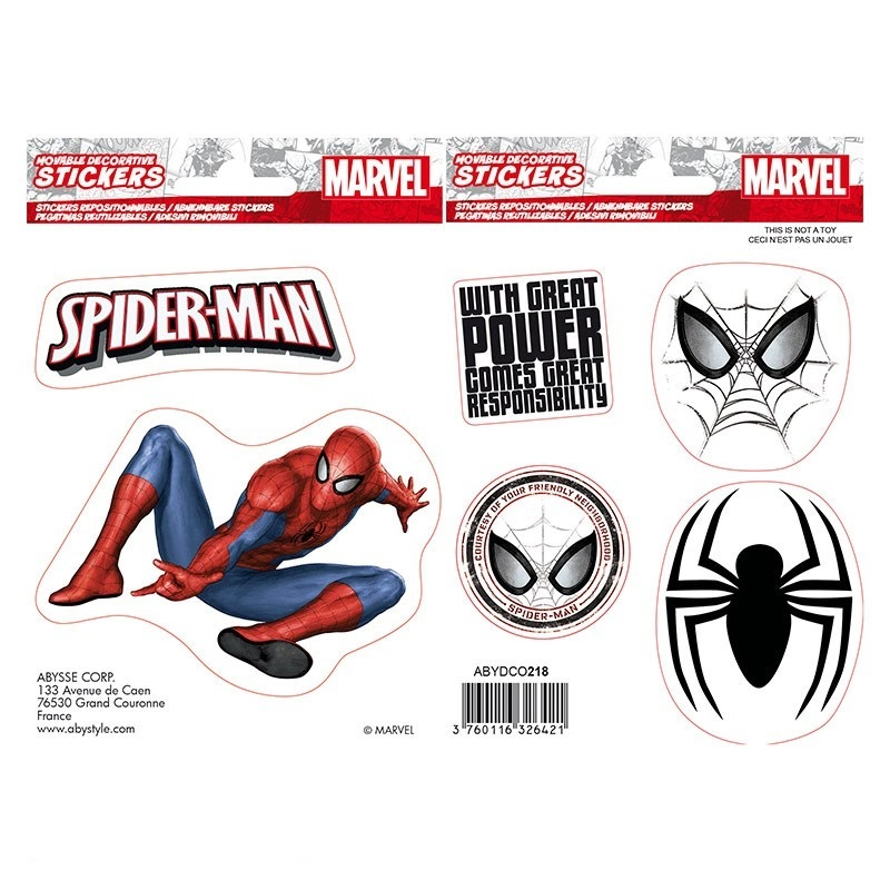 Наклейки ABYstyle: MARVEL :Stickers: 16x11cm/ 2 sheets: Spider:man X5 ABYDCO436