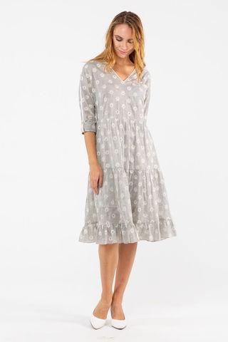Фото серое хлопковое платье с вышивкой и v-образным вырезом - Платье З457-128 (1)