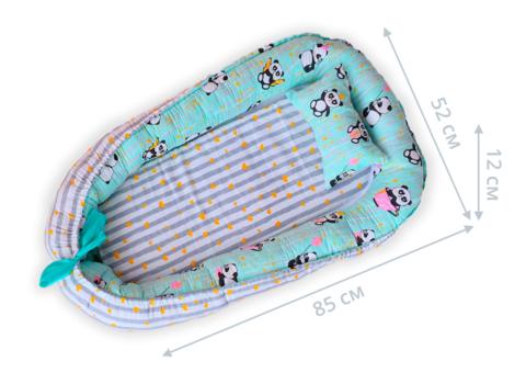 Кокон гнездышко для новорожденных 85*52 см 05-02 унисекс мятная панда