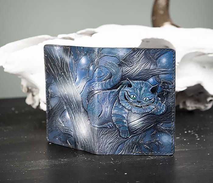 BC209 Кожаная обложка «Чеширский Кот» ручной работы
