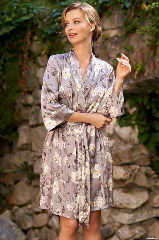 Короткий халатик Mia Amore с принтом 3583 (70% натуральный шелк)