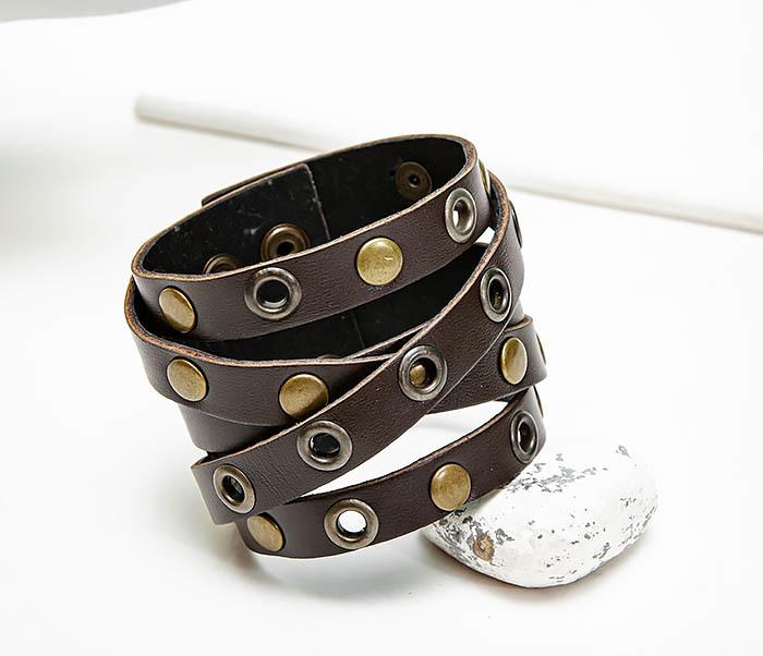 Boroda Design, Мужской кожаный браслет напульсник с клепками