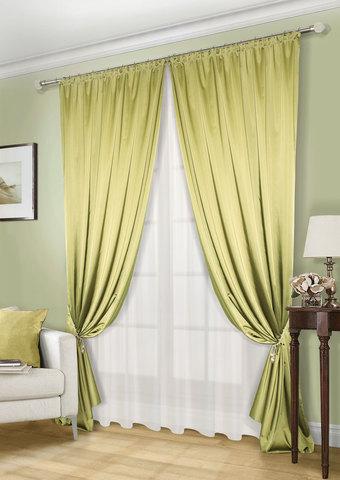 Комплект штор и тюля   Lindor оливка