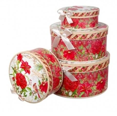 Набор коробок подарочных круглых Новогодняя композиция из 4шт, размер: D23хH10см