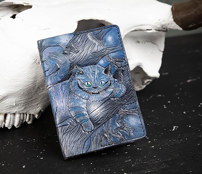 BC209 Кожаная обложка «Чеширский Кот» ручной работы фото 03