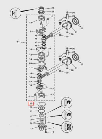 Шайба коленвала  для лодочного мотора T15, OTH 9,9 SEA-PRO (3-29)