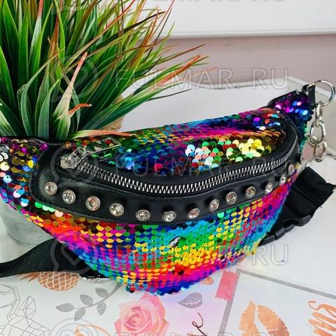 Поясная сумка летняя для девочки в пайетках со стразами меняет цвет Радужный-Серебристый