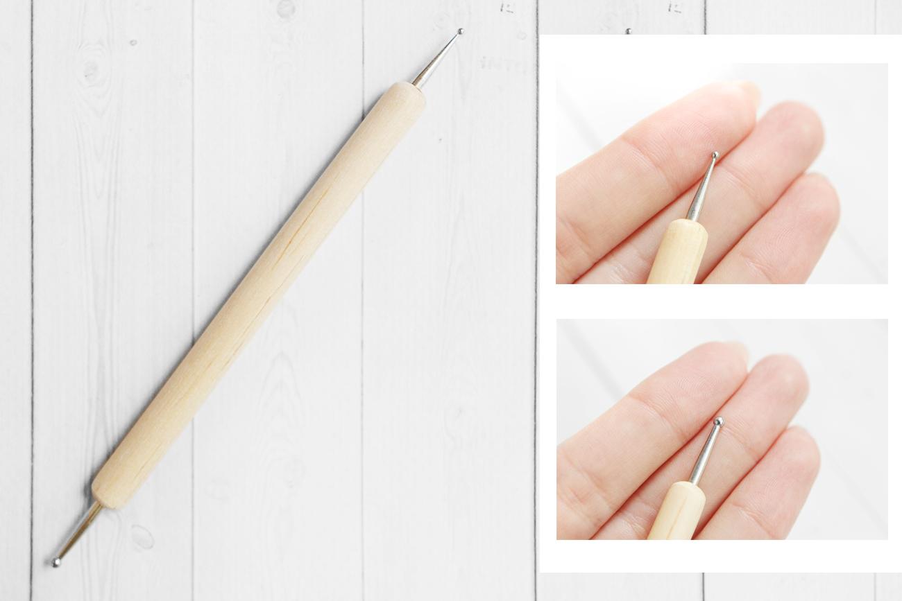 Стек - булька с деревянной ручкой, 3 - 2 мм, двусторонняя