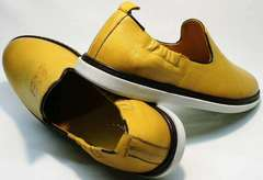 Полуспортивные туфли мужские повседневные King West 053-1022 Yellow-White.