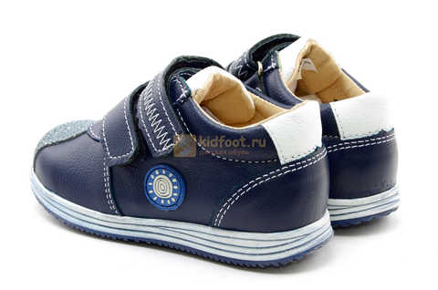 Ботинки для мальчиков Лель (LEL) из натуральной кожи на липучках цвет синий. Изображение 8 из 16.