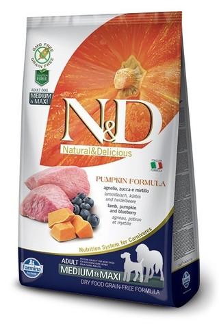 Сухой беззерновой корм Farmina N&D Grain Free Pumpkin Lamb&Blueberry Adult Medium&Maxi
