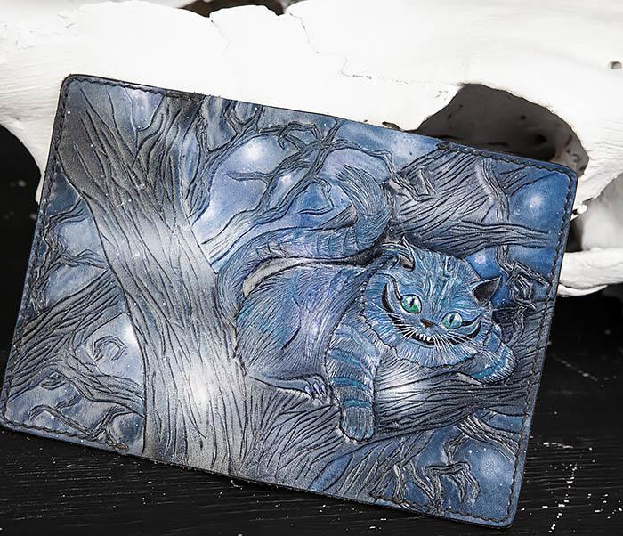 BC209 Кожаная обложка «Чеширский Кот» ручной работы фото 05