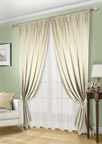Комплект штор и тюля Lindor светло-оливковый