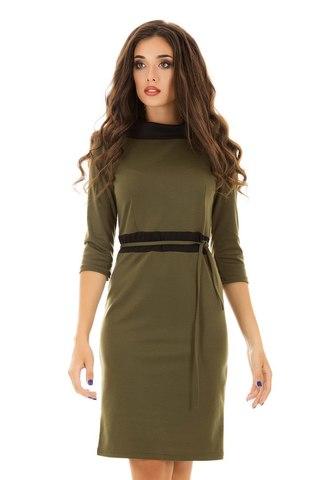 Трикотажное платье миди, цвета хаки