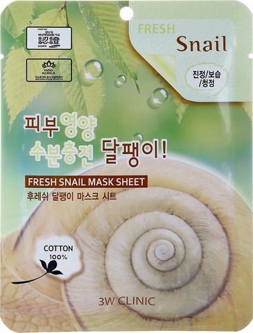 Тканевая маска 3W Clinic Fresh Snail Mucus Mask Sheet