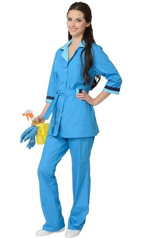 Костюм женский: куртка, брюки тёмно-голубой