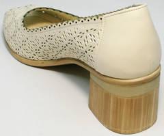 Элегантные туфли на среднем каблуке летние Sturdy Shoes 87-43 24 Lighte Beige.
