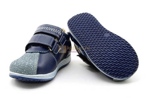 Ботинки для мальчиков Лель (LEL) из натуральной кожи на липучках цвет синий. Изображение 10 из 16.