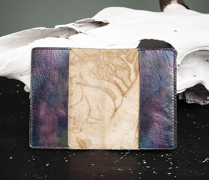 BC209 Кожаная обложка «Чеширский Кот» ручной работы фото 07