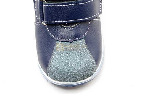 Ботинки для мальчиков Лель (LEL) из натуральной кожи на липучках цвет синий. Изображение 12 из 16.