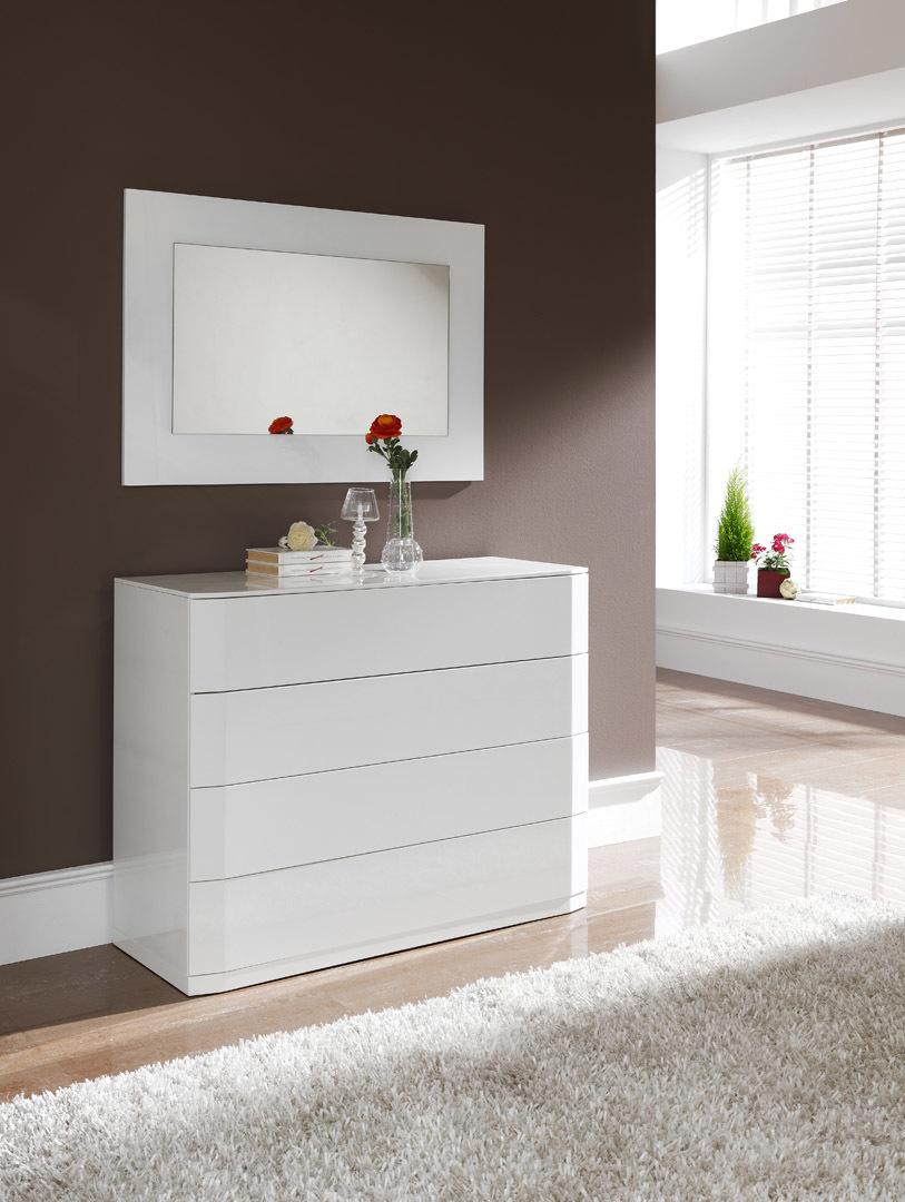 Комод горизонтальный DUPEN (Дюпен) С-102 белый и зеркало Е-96 белое