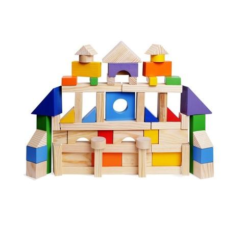Деревянный конструктор, 85 деталей, окрашенный, в пакете (окрашено 20 деталей)