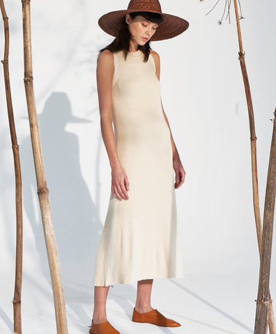 Трикотажное платье Натиса бежевое