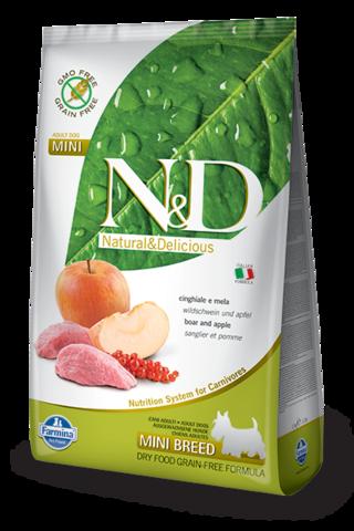 Сухой беззерновой корм Farmina N&D Grain Free Boar&Apple Adult Mini