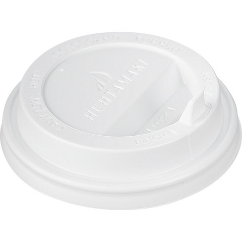 Крышка для стакана Huhtamaki 80 мм пластиковая белая с клапаном 100 штук в упаковке