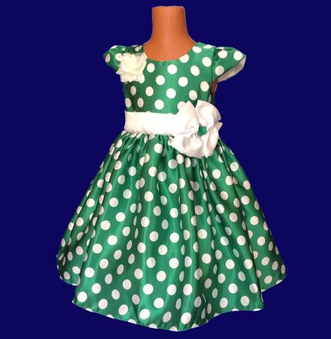 Платье в горох зеленое с крылышками