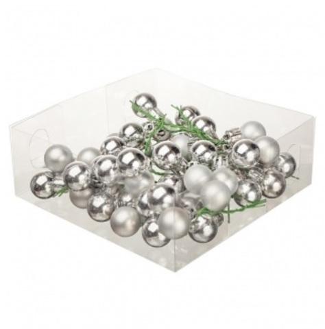Набор шаров елочных на проволоке 48шт. (пластик), D2см, цвет: серебро