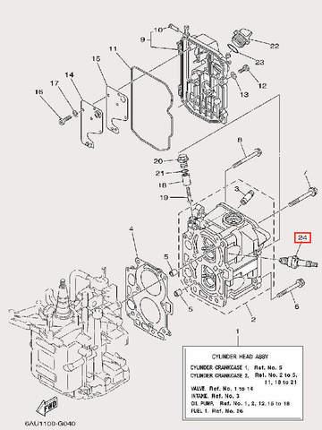 Свеча зажигания NGK BR6HS-10 для лодочного мотора F9,9 Sea-PRO (4-24)