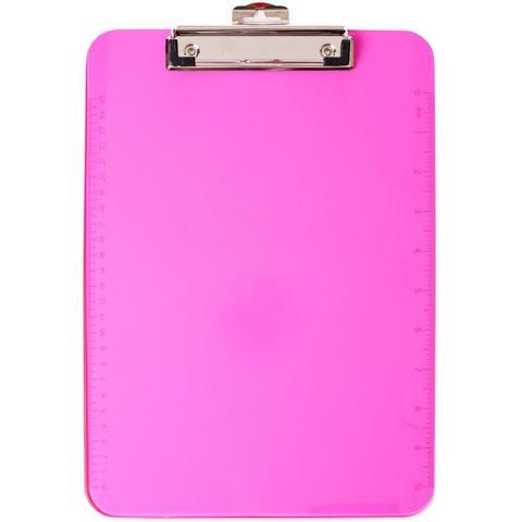 Планшет для бумаги с зажимом Low Profile Neon Plastic Clipboard Pink