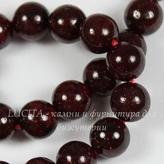 Бусина Гранат, шарик, цвет - бордовый, 6 мм, нить