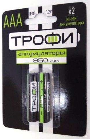 Аккумуляторная батарея ТРОФИ HR03-2BL к-т 2шт, 950 mAh