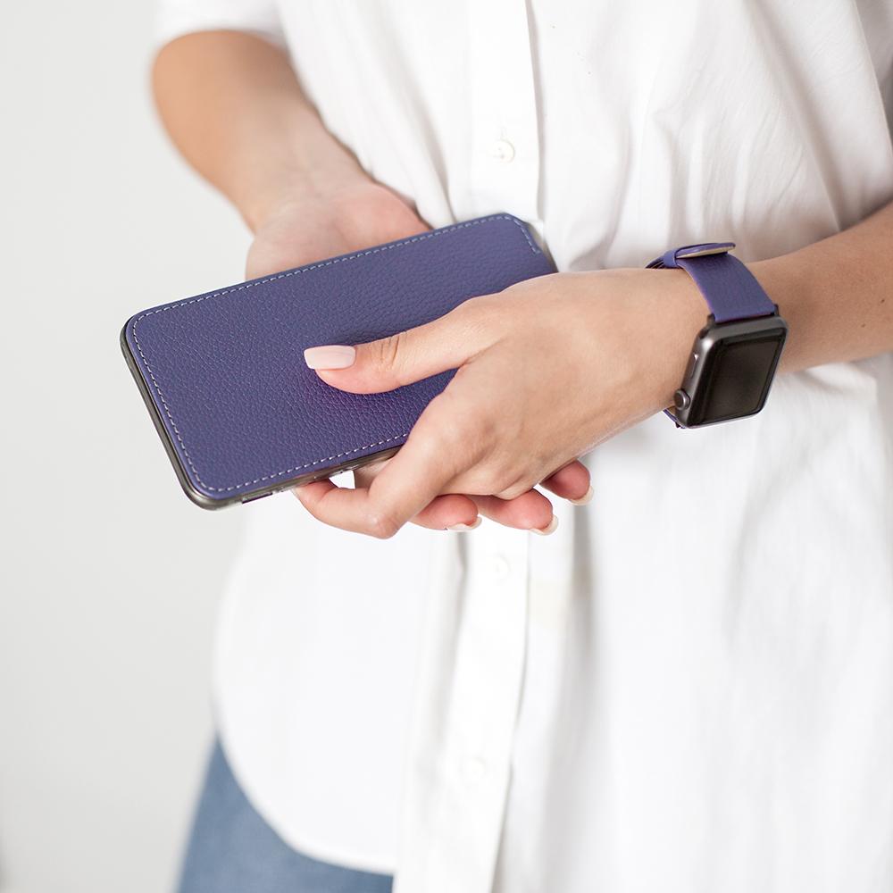 Чехол для iPhone 8 Plus из натуральной кожи теленка, цвета сирени