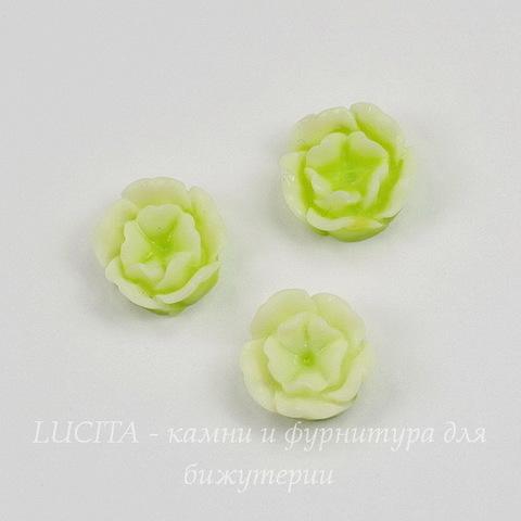 """Кабошон акриловый двухцветный """"Розочка"""", цвет - салатовый, 13 мм"""