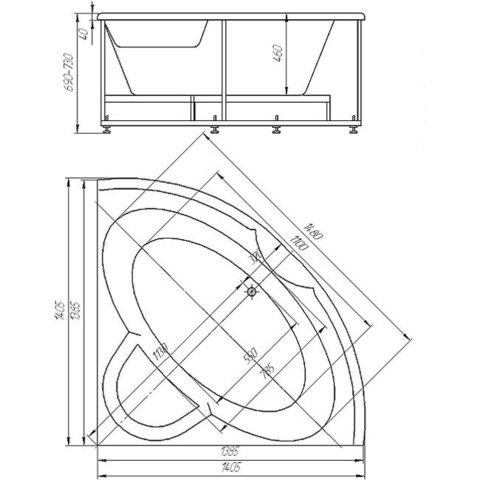Ванна акриловая угловая Aquatek Поларис 140х140см. на каркасе и сливом-переливом схема