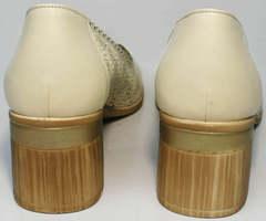Туфли на невысоком толстом каблуке летние женские Sturdy Shoes 87-43 24 Lighte Beige.