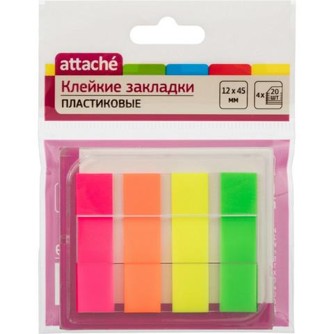 Клейкие закладки Attache пластиковые 4 цвета по 20 листов 12х45 мм