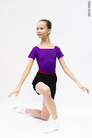 Kids set: T-leotard violet + skirt