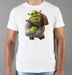 Футболка с принтом мультфильма Шрек (Shrek)  белая 004