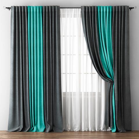 Комплект штор с подхватами Карин мокрый асфальт-бирюзовый