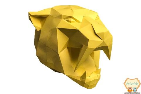 Конструктор. Голова шаблезубого тигра. Papercraft. 3D фігура з паперу та картону.