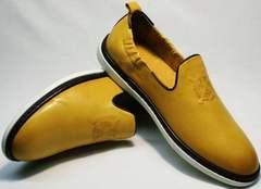 Современные туфли мужские летние кожаные King West 053-1022 Yellow-White.