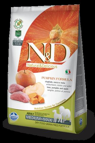 Сухой беззерновой корм Farmina N&D Grain Free Pumpkin Boar&Apple Adult Dog Medium&Maxi