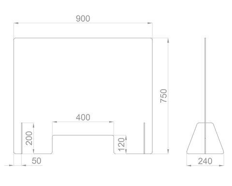 Настольный экран с окном Ш.900мм, В.600/750мм