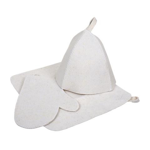 Набор из трех предметов (Шапка, коврик, рукавица), войлок 100%