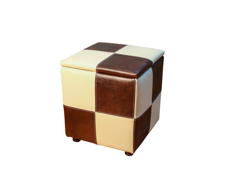 Пуф Квадрат с ящиком, шахматы из кусочков кожзама